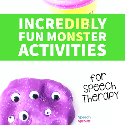 This purple playdough monster with googly eyes is one of the incredibly fun monster themed activities for preschool speech therapy in this blog post.