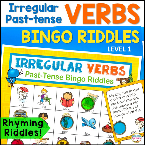 A printable bingo board with colorful pictures illustrating irregular verbs and rhyming riddle calling cards! Irregular Past-Tense Bingo Riddles by Speech Sprouts