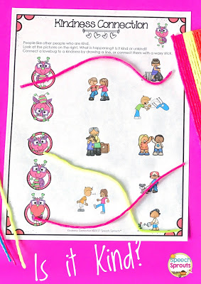 FREE Is it Kind? Scoop up this Sweet Social Skills Freebie for Valentine's Day or any day, Check out more freebies in the Frenzied SLPs Kindness blog hop! www.speechsproutstherapy.com