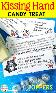 Welcome your speech therapy students back to school with The Kissing Hand and a sweet treat too! FREE treat topper with a parent note to encourage story re-tell. www.speechsproutstherapy.com