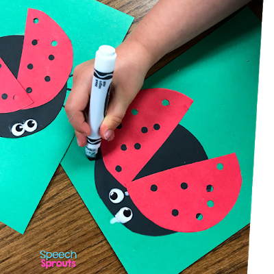 Draw legs with a marker to finish this adorable construction paper ladybug craft. Read the post for ladybug storybook and song ideas too! www.speechsproutstherapy.com