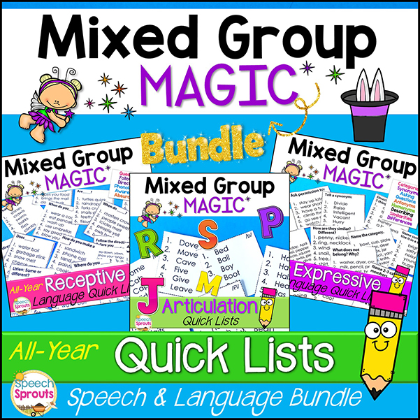 A bundle of expressive Language, Receptive Language and articulation Quick List resources. Handy lists of prompts at your fingertips to make mixed group simple!