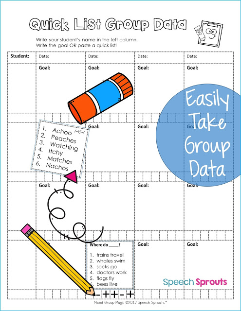 Simplify data-taking in speech therapy mixed groups  www.speechsproutstherapy.com