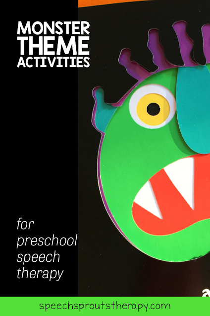 Monster theme activities for preschool speech therapy. The green monster with the big red mouth who is peeking from the side is the fun character from the picture book Go Away Big Green Monster