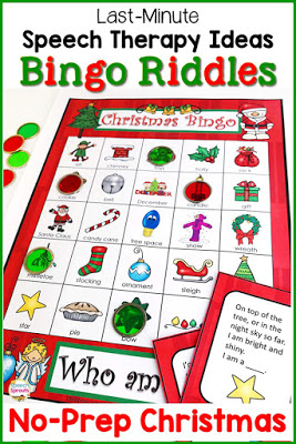 Solve the rhyming riddles to play this Christmas speech therapy bingo game! Fun inference, vocabulary and listening practice. Just one of the easy no-prep ideas for no-stress last-minute Christmas speech therapy sessions! #speechsprouts #speechtherapy #Christmas #speechandlanguage