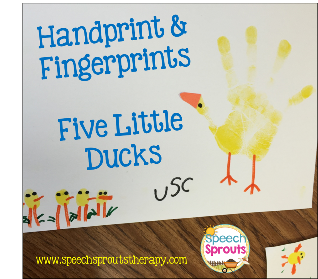 The Five Little Ducks song handprint and fingerprint art project with Mama duck and Baby ducks
