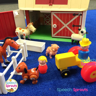See how to use a farm set like this one in speech therapy to extend your preschool Thanksgiving picture-book readings. 5 Best-Ever Thanksgiving Picture Books  and activities for Preschool Speech Therapy #speechsprouts #speechtherapy #preschool #Thanksgiving #speechandlanguage