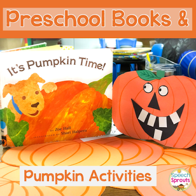 5 terrific pumpkin-themed books and activities for preschool speech therapy this fall. #speechsprouts #speechtherapy #speechandlanguage #fall #pumpkins #preschool