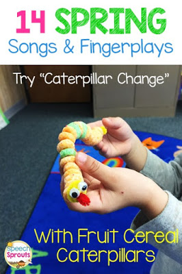 """A fun and easy fruit cereal caterpillar craft for preschool. Make this after learning the fingerplay """"Caterpillar Change"""" One of 14 Preschool Songs and Fingerplays for Spring.  #speechsprouts #speechtherapy #preschool  www.speechsproutstherapy.com"""