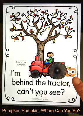 Learn how to use No-Print Activities in speech therapy on your I-Pad or computer like this this pumpkin activity for fall. Portable and no-prep materials that make organization easy. Terrific with toddlers, preschool and autism students. #speechsprouts #speechtherapy #noprint #winter www.speechsproutstherapy.com