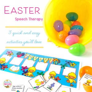 A speech therapy Easter game with cardsand bucket of Easter eggs. Easter speech therapy- 3 quick and Easy activities you'll love by Speech Sprouts