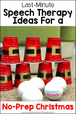 Make a Santa cup stacking game. Just one of the fun last-minute games and ideas for stress-free, no-prep speech therapy sessions this Christmas! #speechsprouts #speechtherapy #Christmas #speechandlanguage