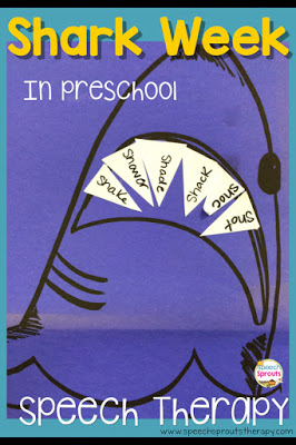 Add some sharp teeth to this scary-looking shark! Read this post for 14 terrific shark week speech and language activities www.speechsproutstherapy.com #speechtherapy #preschool #kindergarten
