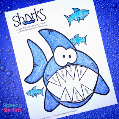 14 great speech and language ideas and activities for Shark Week in preschool speech therapy including a fun, no-prep shark craftivity freebie! www.speechsproutstherapy.com