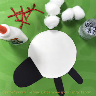 Speech therapy storybook fun with Sheep in a Shop plus a cute lamb craft for spring! Read this blog post by Speech Sprouts www.speechsproutstherapy.com