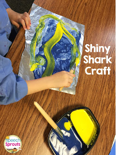 Make a shiny shark in speech therapy during your shark week. 14 great ideas that go Chomp! www.speechsproutstherapy.com