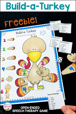 Picture Books and activities for Thanksgiving speech therapy .FREE Build-a-Turkey Thanksgiving game for kids. Open-ended fun in speech therapy or small groups.Collect all the turkey parts to win! Includes Thanksgiving language quick lists.#speechsprouts #speechtherapy #thanksgiving #preschool #kindergarten #thanksgiving game