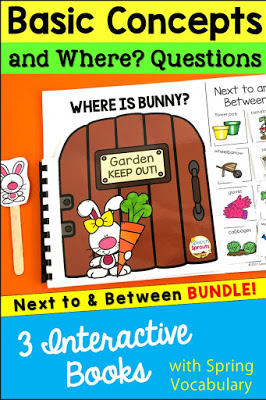 "A set of three interactive books featuring a cute bunny in the spring garden. to teach the concepts of ""next to"" and ""between"" in speech therapy"