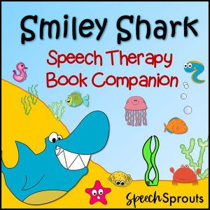 Smiley Shark Speech Therapy Book Companion. This friendly shark is in the ocean, smiling at his fish friends.