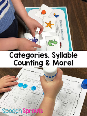 Category sorting and syllable counting under the sea! Read about this Smiley Shark Book Companion plus 14 terrific ideas for shark week in preschool speech therapy www.speechsproutstherapy.com