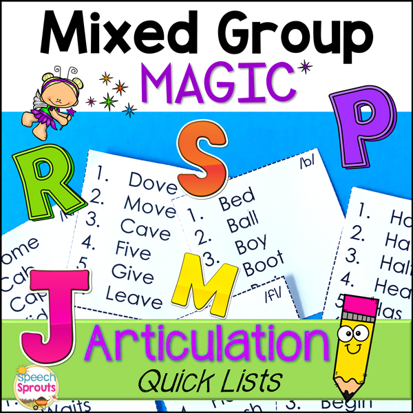 Small speech therapy articulation lists that can be easily pasted on any activity