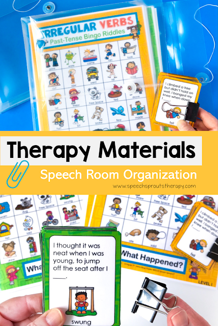How to store and organize your Teachers pay Teachers products plus more speech room organization tips at www.speechsproutstherapy.com #speechsprouts #speechtherapy #organization #speechroom #teacherspayteachers