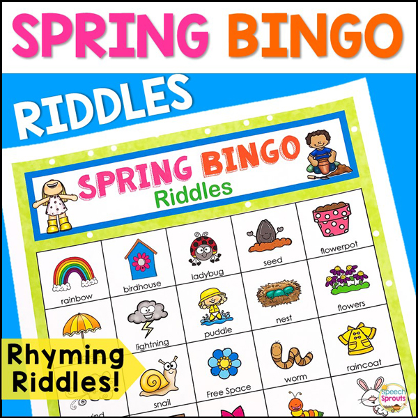 Spring Bingo Riddles- Rhyming Riddles! A colorful bingo board with spring-themed pictures that kids will love for speech therapy or classroom parties.