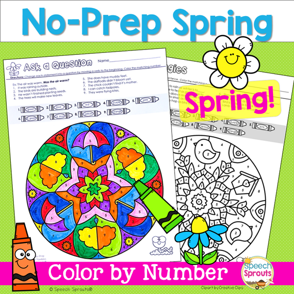 No-Prep Spring Mandala Color by number speech therapy activity pages by speech sprouts