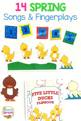 14 preschool songs and fingerplays for spring that are perfect for speech and language therapy. Using visuals like these magnet board story-telling pieces for Five Little Ducks help children with story re-telling.  #speechsprouts #speechtherapy #preschool  www.speechsproutstherapy.com