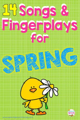 14 fun kindergarten and preschool songs and fingerplays for your spring speech therapy sessions  #speechsprouts #speechtherapy #preschool  www.speechsproutstherapy.com