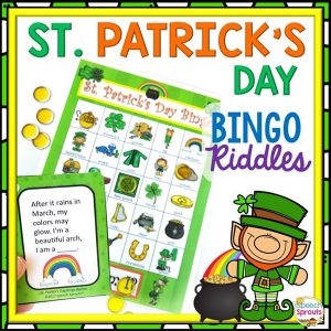 St Patrick's Day Bingo Game for speech therapy with rhyming riddle clues. By Speech Sprouts.