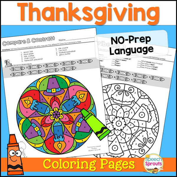 Thanksgiving No-Prep Language coloring pages for Speech Therapy with Mandala coloring pages
