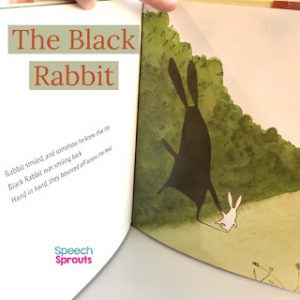 A little bunny walks off hand and hand with his large shadow. The Black Rabbit is a sweet book for preschool speech therapy.