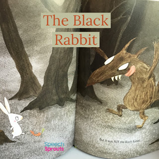 A little bunny meets a scary wolf in the woods in The Black Rabbit. A great book that is sound-loaded with R for spring speech therapy.