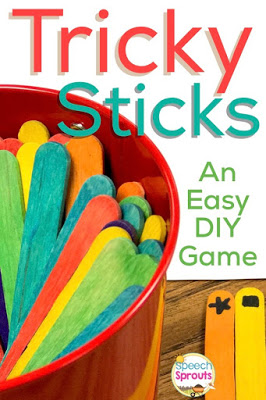 Tricky Sticks- Make this Super-Easy Speech Therapy Game www.speechsproutstherapy.com