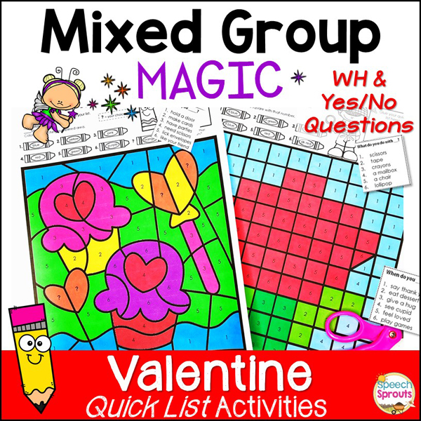 Mixed Group Valentine's day speech therapy activities with WH and Yes-No questions including the two Valentine color by number activities pictured.