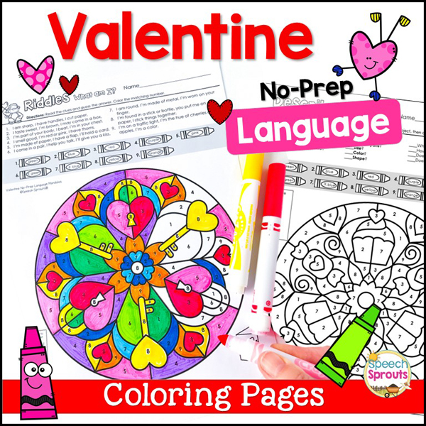 BeautifulValentine no-prep language skills coloring pages for speech therapy
