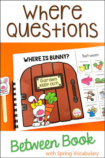 "Where is Bunny? interactive book with garden-gate pages and moveable garden-themed pieces. Teach the concept of ""between"" with this book."