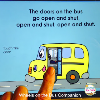 Learn how to use No-Print Activities in speech therapy on your I-Pad or computer like this Wheels on the Bus Back to School activity. Portable and no-prep materials that make organization easy. Terrific with toddlers, preschool and autism students. #speechsprouts #speechtherapy #noprint www.speechsproutstherapy.com
