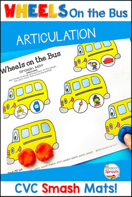 Wheels on the Bus is just one of the fabulous fall songs and fingerplays for preschool speech therapy in this post. Lisette shares links to the best Youtube videos to teach them, speech and language targets and more autumn speech and language activities like this bus-themed speech activities pack. #speechsprouts #fingerplays #speechandlanguage #preschool #fallpreschoolactivities #spidertheme #wheelsonthebus #nurseryrhymes #backtoschool #bustheme #articulation