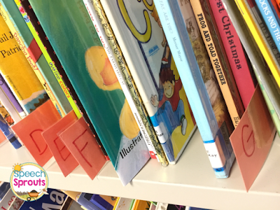 Organize your storybooks alphabetically in your speech therapy room and use dividers to easily find the titles. Read more speech room organization tips at www.speechsproutstherapy.com #speechsprouts #speechtherapy #organization #speechroom
