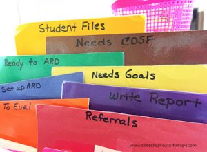 Organize your speech therapy files with colored and labeled dividers by your workflow and you can see what needs to be done at a glance! No need to get fancy, the dividers pictured here are simply laminated construction paper. Read more speech room organization tips at www.speechsprouts.com #speechsprouts #speechtherapy