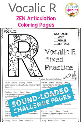 Sound-loaded printable articulation activities for vocalic r sounds.  Swap the crazy in mixed group speech therapy sessions for calm and Zen. Elementary and middle school kids love coloring the beautiful patterns and they are no-prep for you! Click to check it out. #speechsprouts #speechtherapy #articulation #noprep
