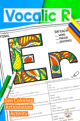 Zen coloring articulation activity for vocalic R practice in speech therapy. These no-prep printables are perfect in mixed groups. Click to see more!  #speechsprouts #articulation #speechtherapy #noprep