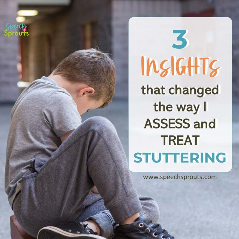 3 Insights that changed the way I assess and treat stuttering www.speechsprouts.com A little boy is sitting on the ground.