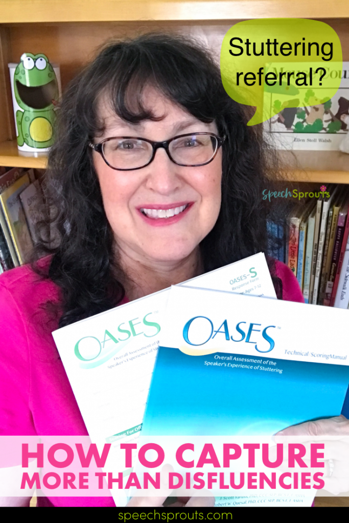 The Oases stuttering test manual and a response form held by Lisette from Speech Sprouts