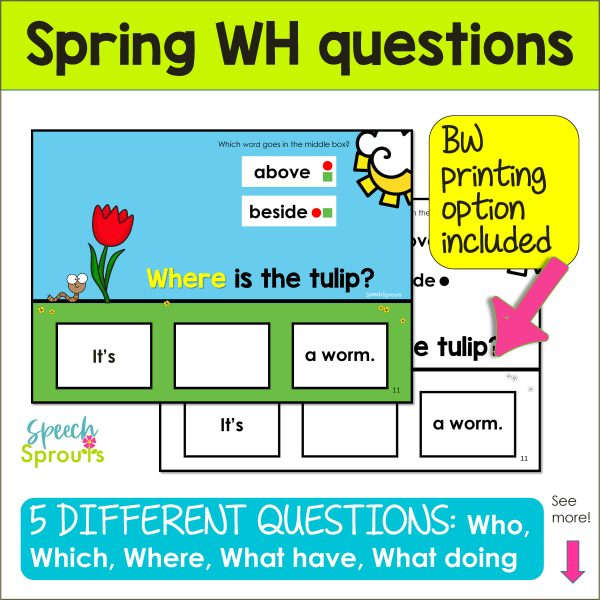 Spring WH questions card in both color and BW featuring a tulips and worm with the question Where is the Tulip? and two answer choices.