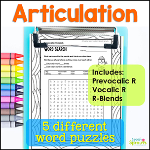 R Articulation printable word puzzles including Prevocalic R, Vocalic R and R Blends. 5 different puzzles for speech therapy.