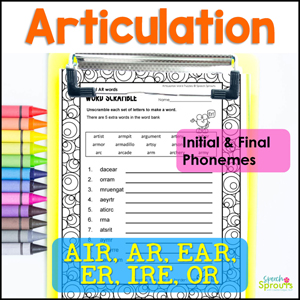 R Articulation printable word puzzles with initial and final phonemes AIR, AR, ER, IRE, OR and prevocalic R for speech therapy