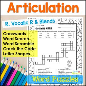 R Articulation and Vocalic R crosswords, word search, word scramble, Crack the Code and Letter Shapes printable word puzzles for speech therapy